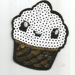 1pc Cupcake Dessert Sequin Iron on Patch Applique